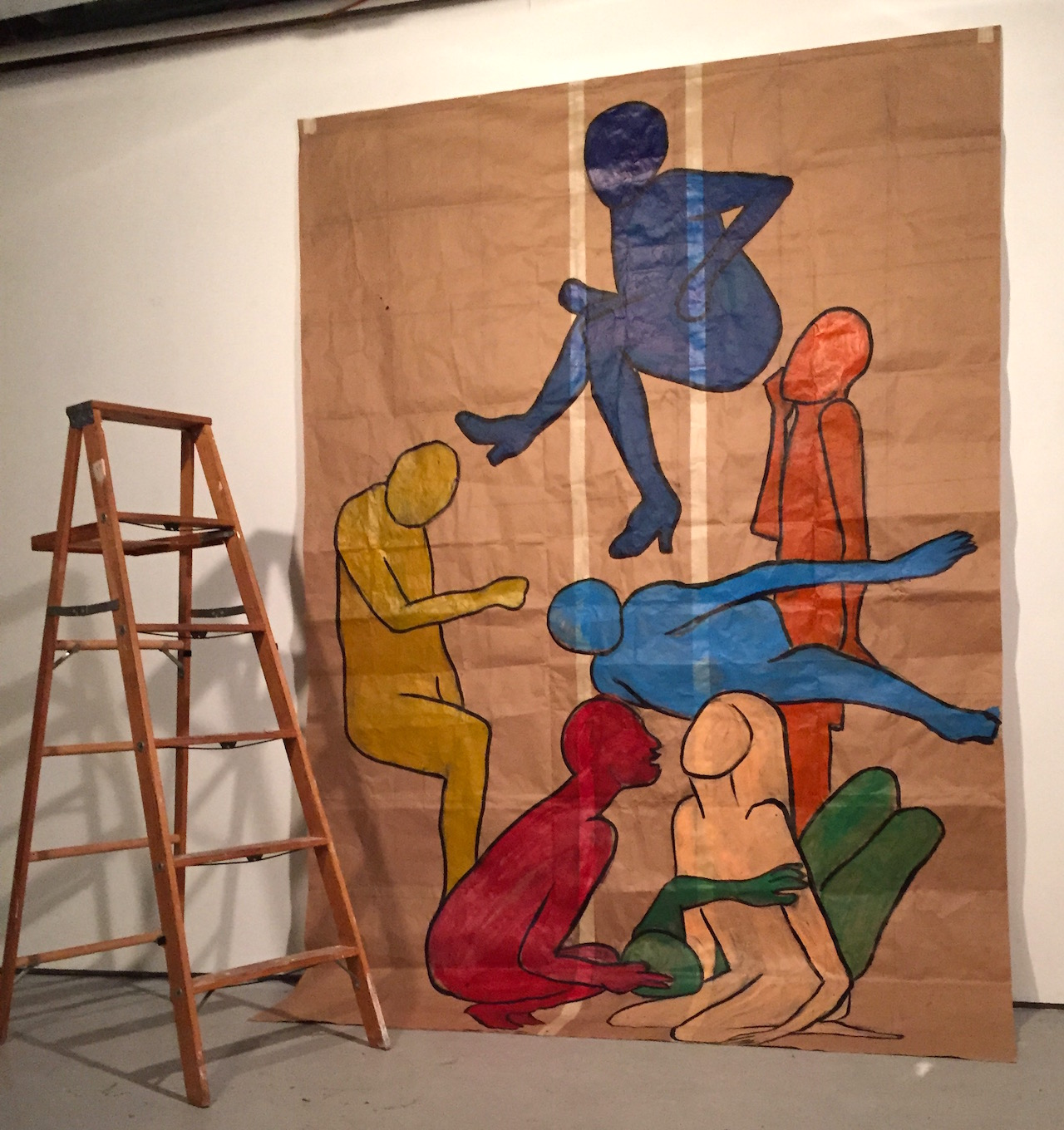 """Kara Jefts, """"Backdrop for Dance of Death re-performance"""" (2014) (photo by the author for Hyperallergic)"""