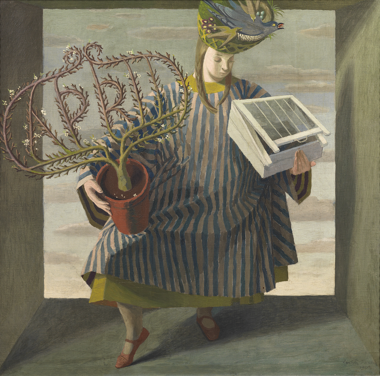 "Evelyn Dunbar, ""April"" (1937), oil on canvas (© The Artist's Estate, courtesy of Liss Llewellyn Fine Art)"