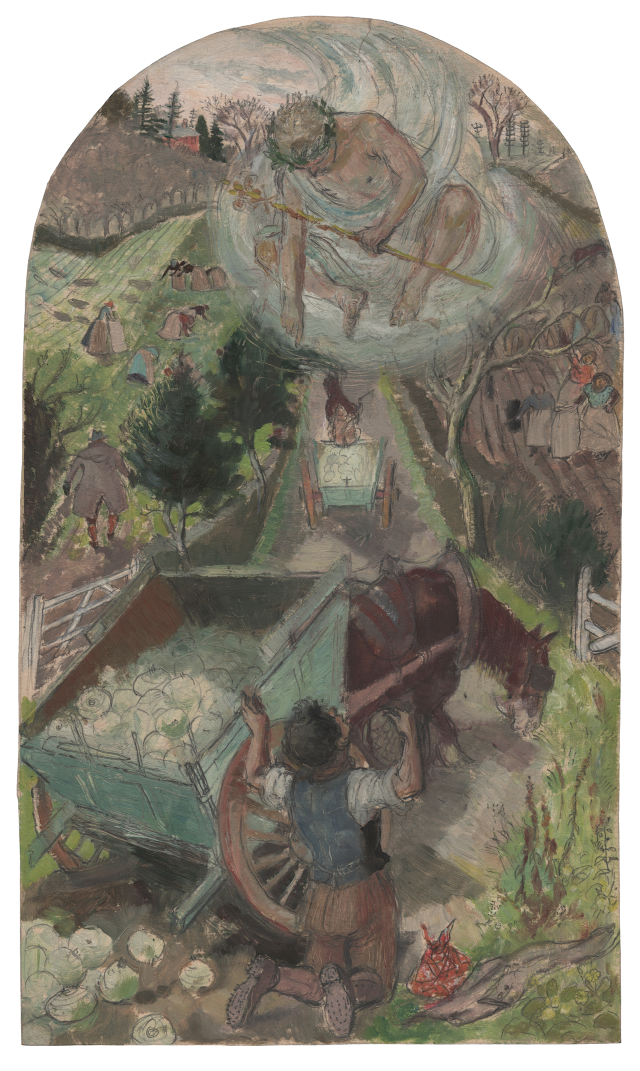 """Evelyn Dunbar, """"Hercules and the Waggoner (Brockley)"""" (1933), pencil and oil on paper (© The Artist's Estate, courtesy of Liss Llewellyn Fine Art)"""