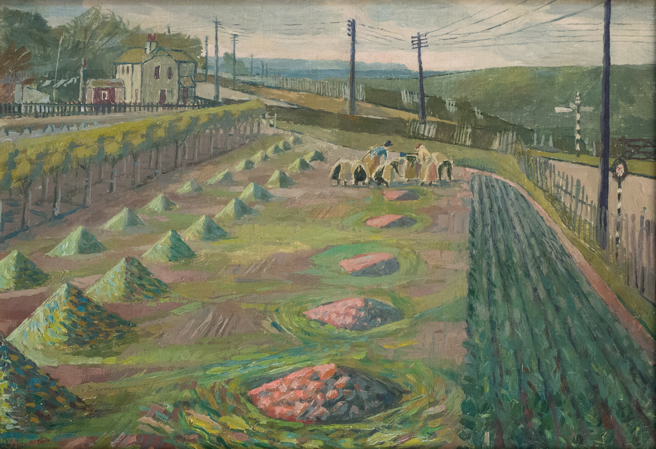 """Evelyn Dunbar, """"Land Workers at Strood"""" (1938), oil on canvas (© The Artist's Estate, courtesy of Liss Llewellyn Fine Art)"""