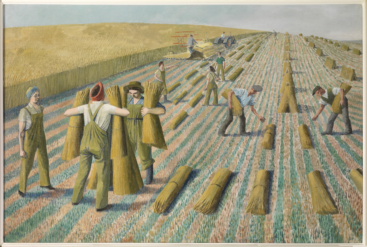 """Evelyn Dunbar, """"Men Stooking and Girls Learning to Stook"""" (1940), oil on canvas, (courtesy private collection, © The Artist's Estate/Christopher Campbell-Howes)"""