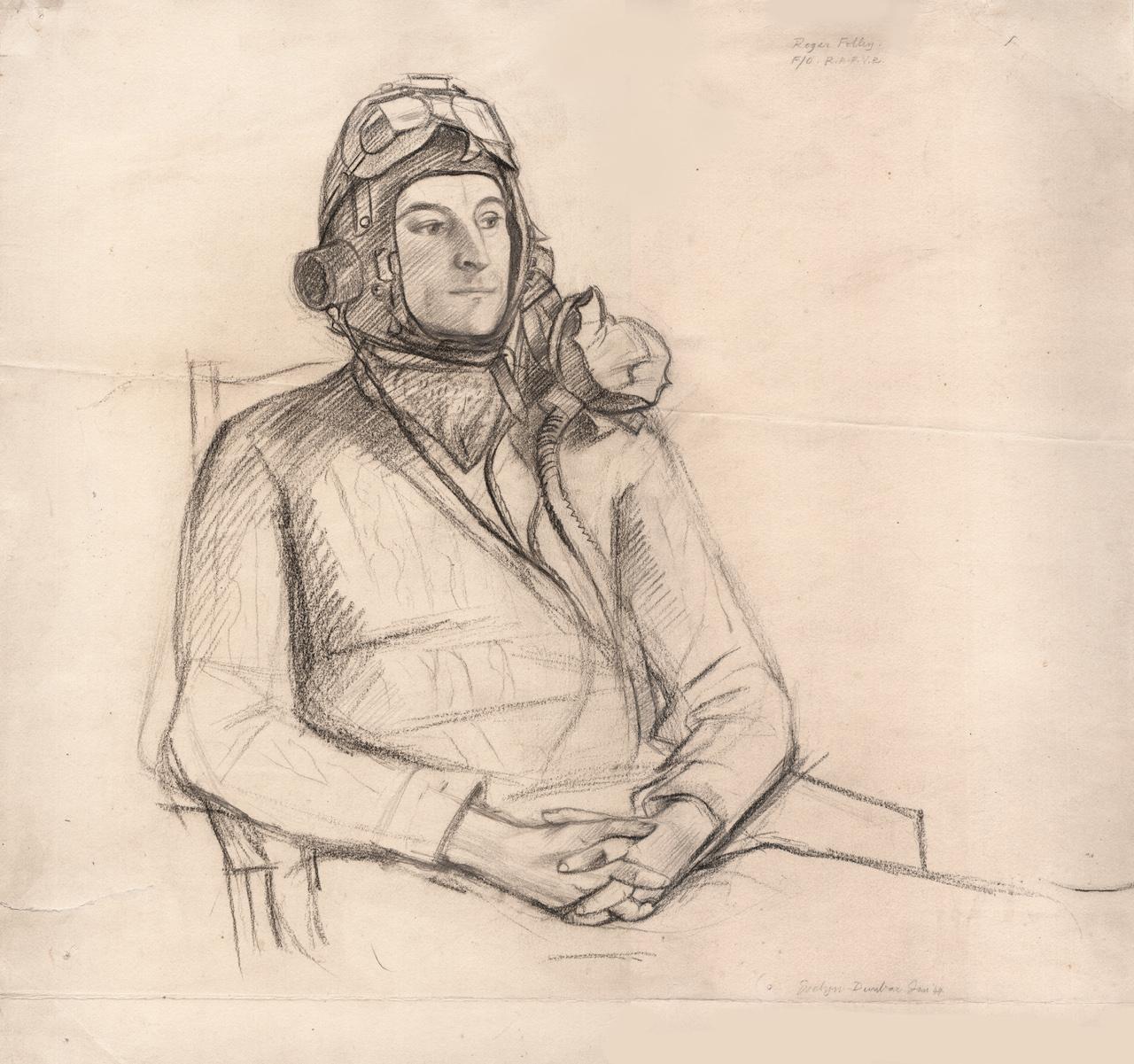 "Evelyn Dunbar, ""Portrait of Flying Officer Roger Folley RAFVR"" (1944) (courtesy the artist's estate and Liss Llewellyn Fine Art)"