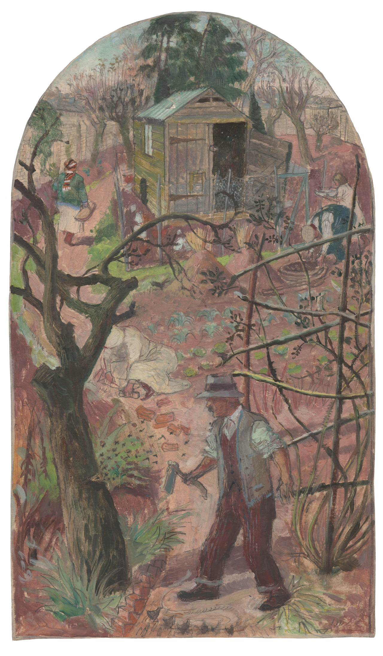 """Evelyn Dunbar, """"The Woodcutter and the Bees"""" (1933), pencil and oil on paper (© The Artist's Estate, courtesy of Liss Llewellyn Fine Art)"""