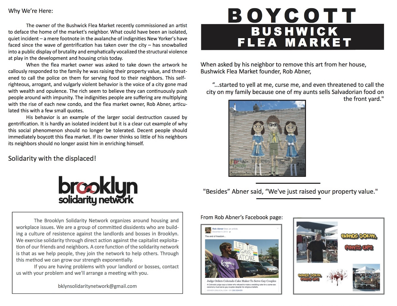The flyer protestors handed out on Saturday calling for a boycott of the Bushwick Flea (courtesy Brooklyn Solidarity Network) (click to enlarge)
