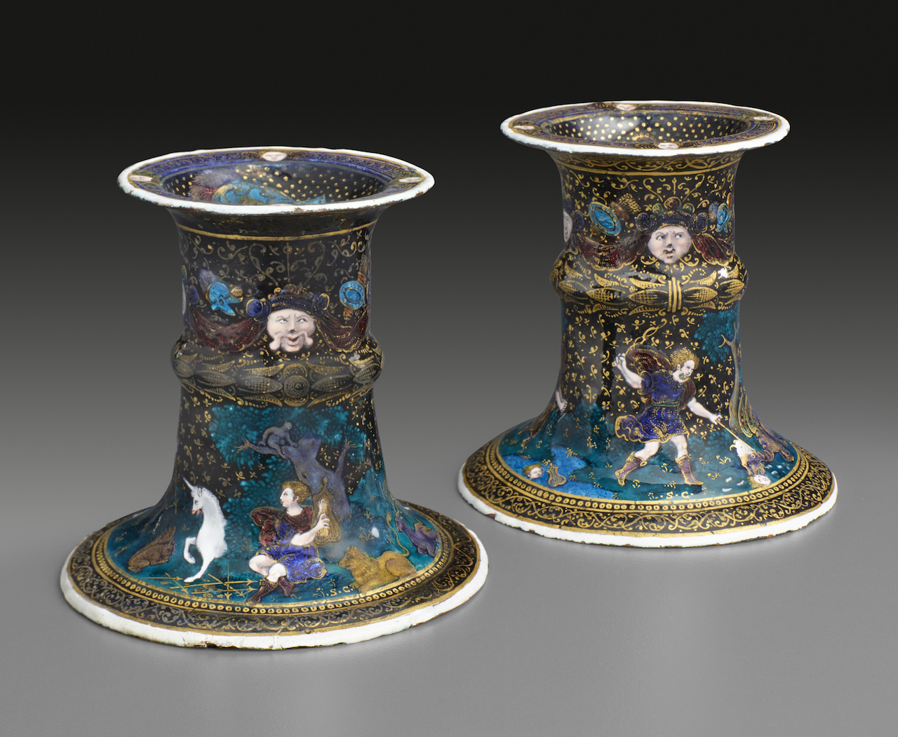"Suzanne de Court, ""Pair of Saltcellars: Scenes from the Story of Orpheus"" (late 16th or early 17th century), enamel on copper. Height: 3 1/2inches; Diameter: 3 9/16 inches. (courtesy The Frick Collection, photo by Michael Bodycomb)"