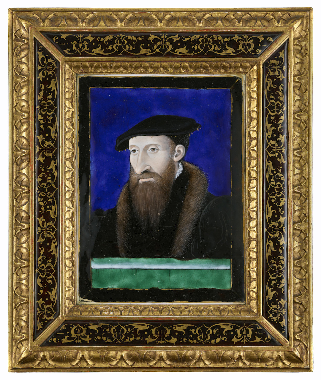 "Léonard Limousin (or Limosin), ""Portrait of a Bearded Man (Guillaume Farel?)"" (1546), enamel on copper, 7 9/16 x 5 5/8 inches (courtesy The Frick Collection, photo by Michael Bodycomb)"