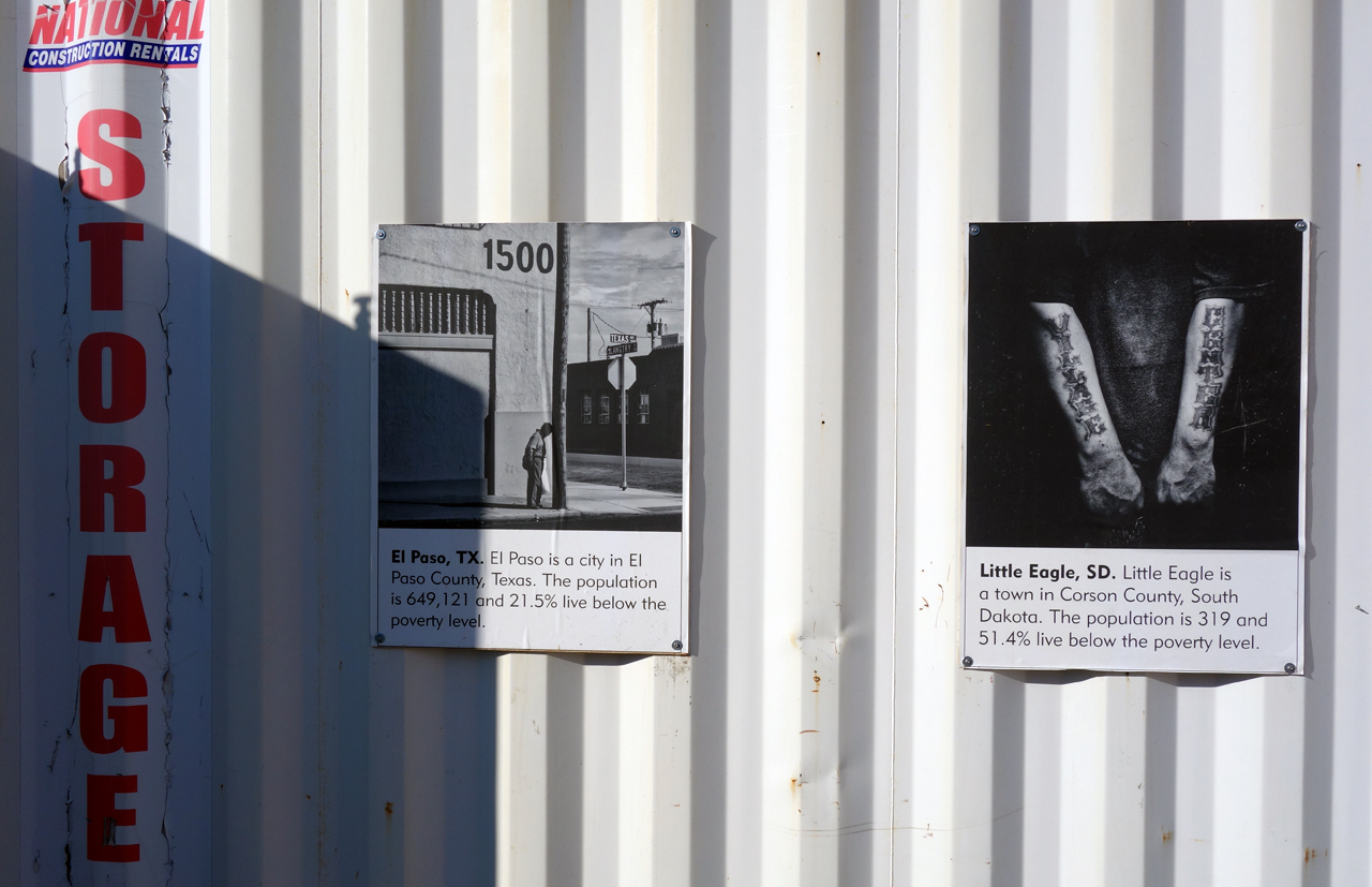 Photographs from 'Geography of Poverty' installed at Photoville in Brooklyn Bridge Park (photo by the author for Hyperallergic)