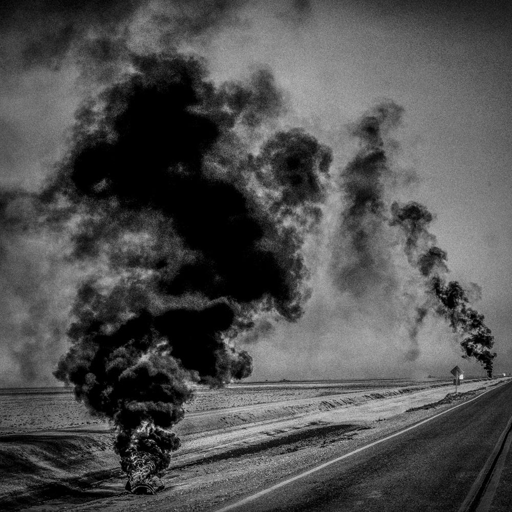 Burning tires. Corcoran, California (photo by Matt Black)