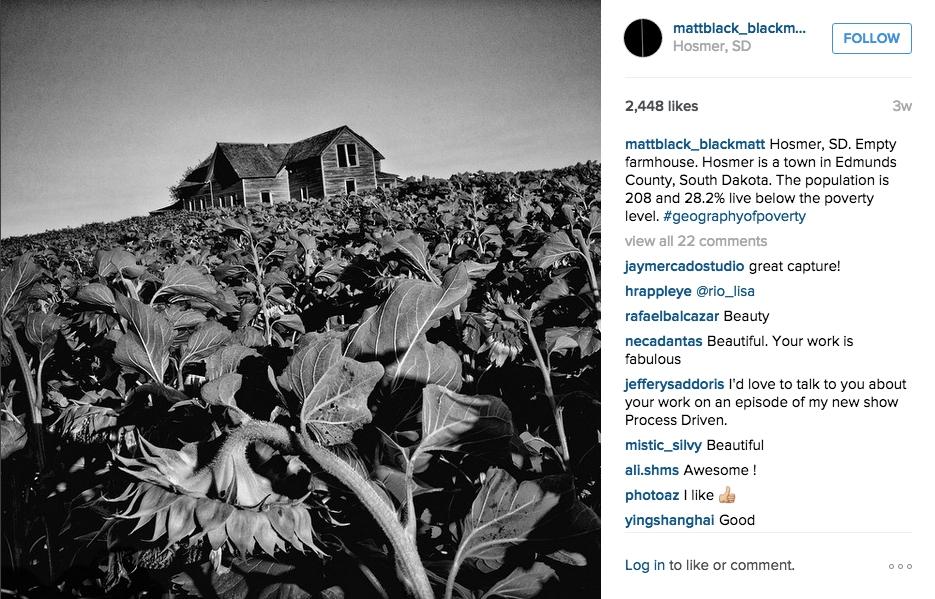Photograph from Hosmer, South Dakota, on Matt Black's Instagram (screenshot via Instagram)