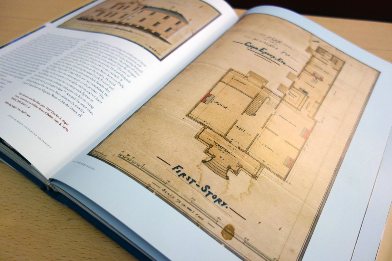 Pages from 'Henry Howard: Louisiana's Architect' (photo of the book for Hyperallergic)