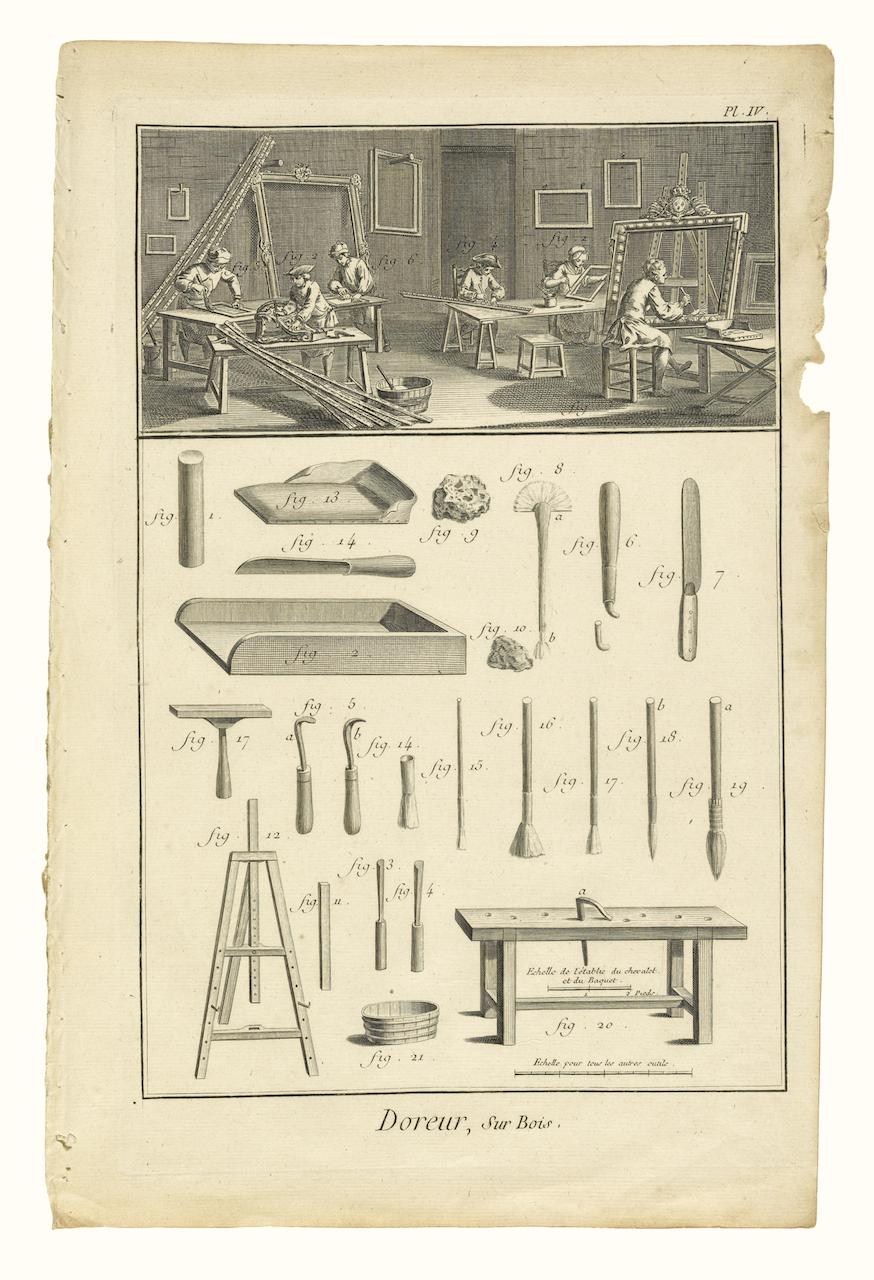 """J. R. Lucotte, Louis-Jacques Goussier, Benoît-Louis Prévost, Denis Diderot, and Jean le Rond d'Alembert, """"Doreur, sur Bois"""" (1751-76), etching"""