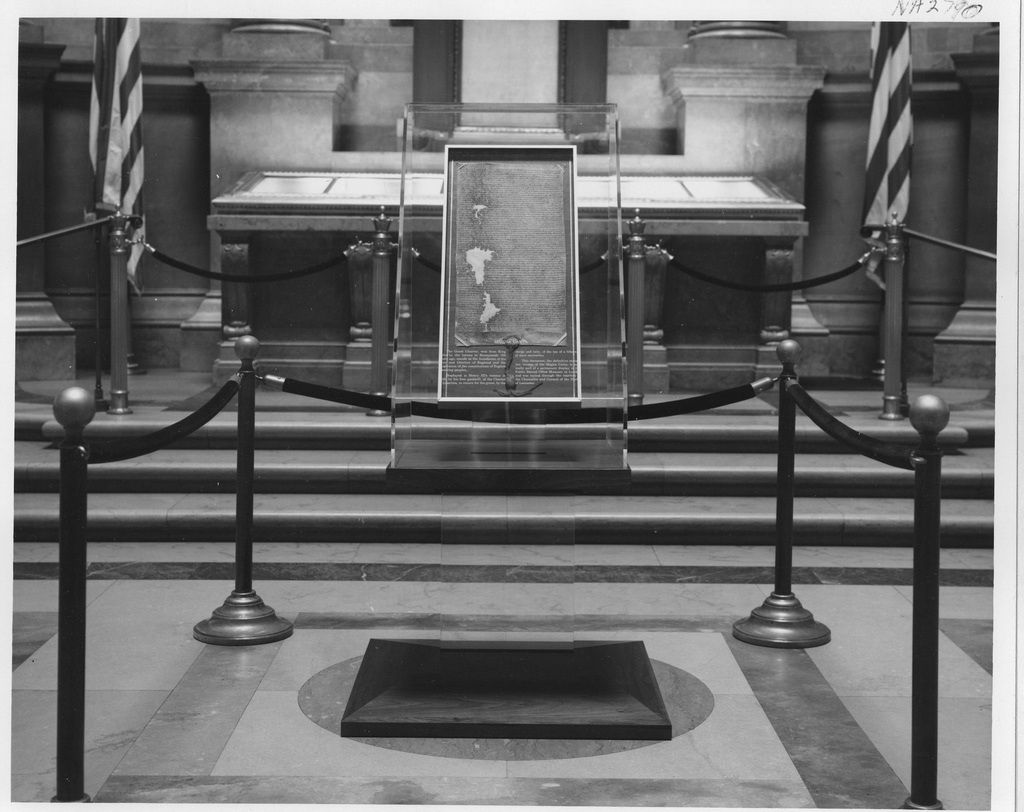 The 1225 reissue of the Magna Carta, on view in the U.S. National Archives Rotunda in 1965 (via U.S. National Archives/Flickr)