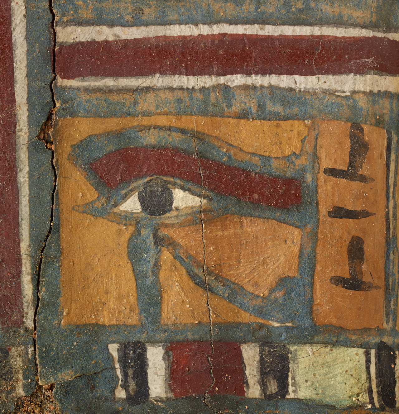 Eye of Horus, the falcon god, on a detail of an ancient Egyptian coffin (© 2015 The Field Museum, photo by John Weinstein)