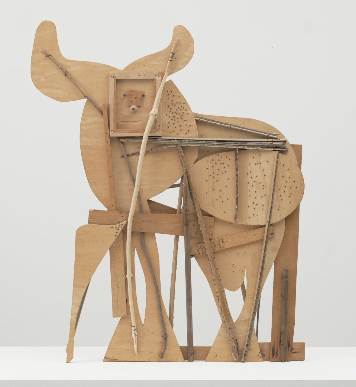"""Pablo Picasso, """"Bull"""" (1958, Cannes), plywood, tree branch, nails, and screws, 46 1/8 x 56 3/4 x 4 1/8 inches (courtesy the Museum of Modern Art, New York. Gift of Jacqueline Picasso, © 2015 Estate of Pablo Picasso / Artists Rights Society (ARS), New York)"""