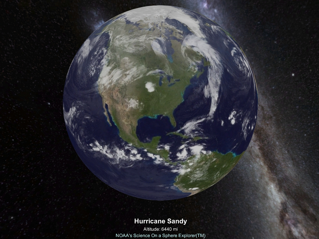 Hurricane Sandy forming in 2012, as visualized in NOAA's SOS Explorer (all screenshots by the author for Hyperallergic)