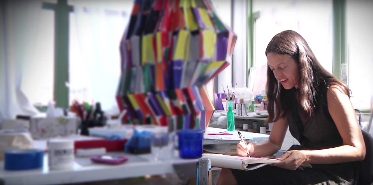 ASAP co-founder Tamara Zahaykevich, who has moved her home and studio 20 times in 19 years (screenshot by the author via Essl Museum/YouTube)