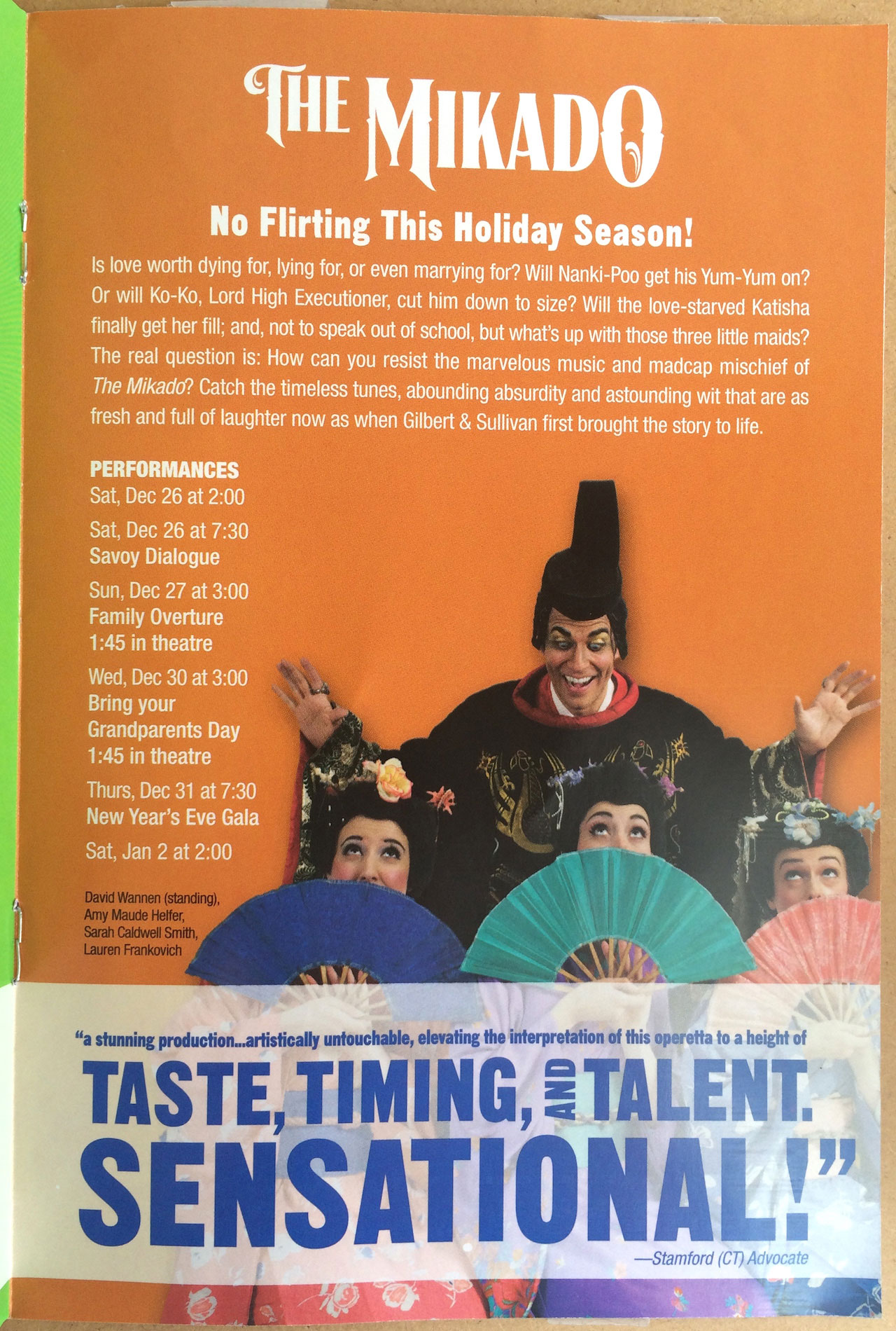 A page from the flyer for New York Gilbert and Sullivan Players' 2015–16 season advertising 'The Mikado' (photo by Benjamin Sutton for Hyperallergic)