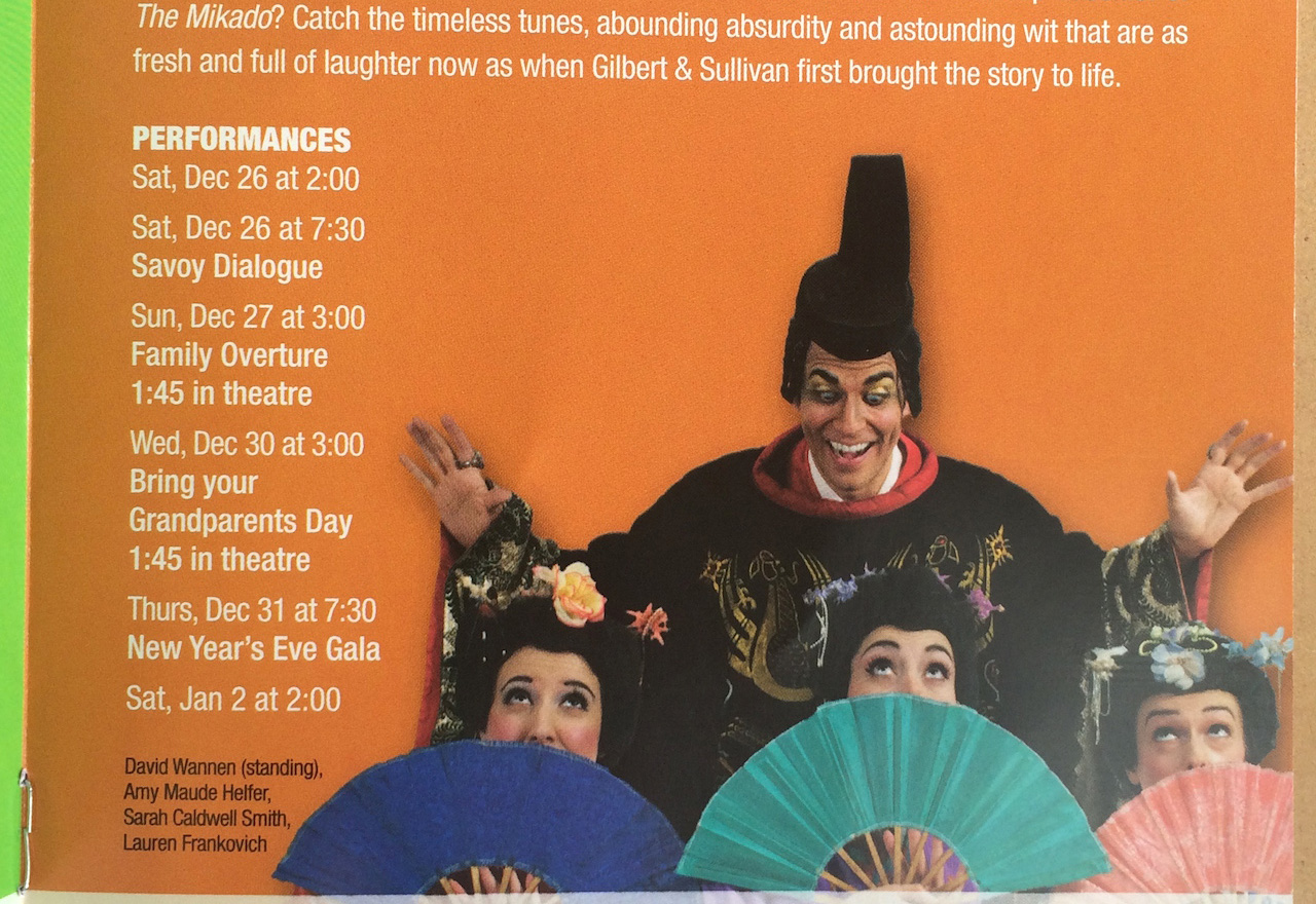 Detail of a page from the flyer for New York Gilbert and Sullivan Players' 2015–16 season advertising 'The Mikado' (photo by Benjamin Sutton for Hyperallergic)