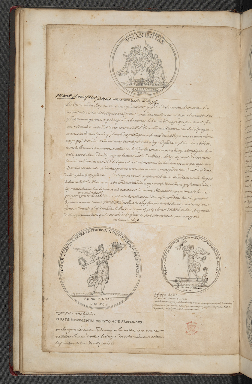 """""""The London Manuscript,"""" a scrapbook bringing together ideas for medals in the form of sketches, descriptions and finished drawings by Sébastien Le Clerc (© The British Library Board)"""