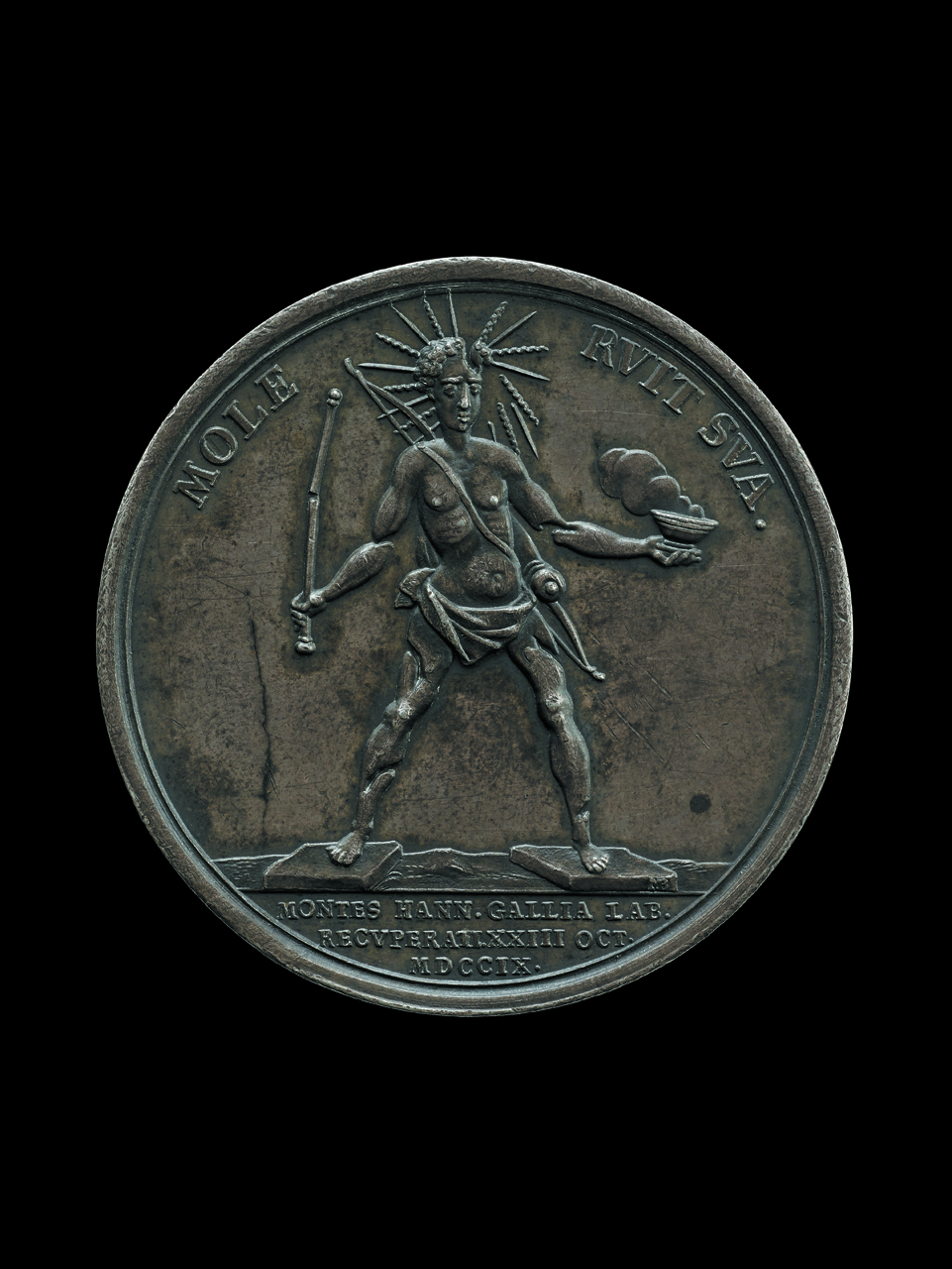 """""""Colossus of Rhodes"""" (1709), Louis XIV is shown as the Colossus of Rhodes crumbling under its own weight.The medal celebrates the capture of Hainault from the French in 1709 and is representative of the widespread feeling that Louis' pre-eminence was coming to an end (© The Trustees of the British Museum)"""