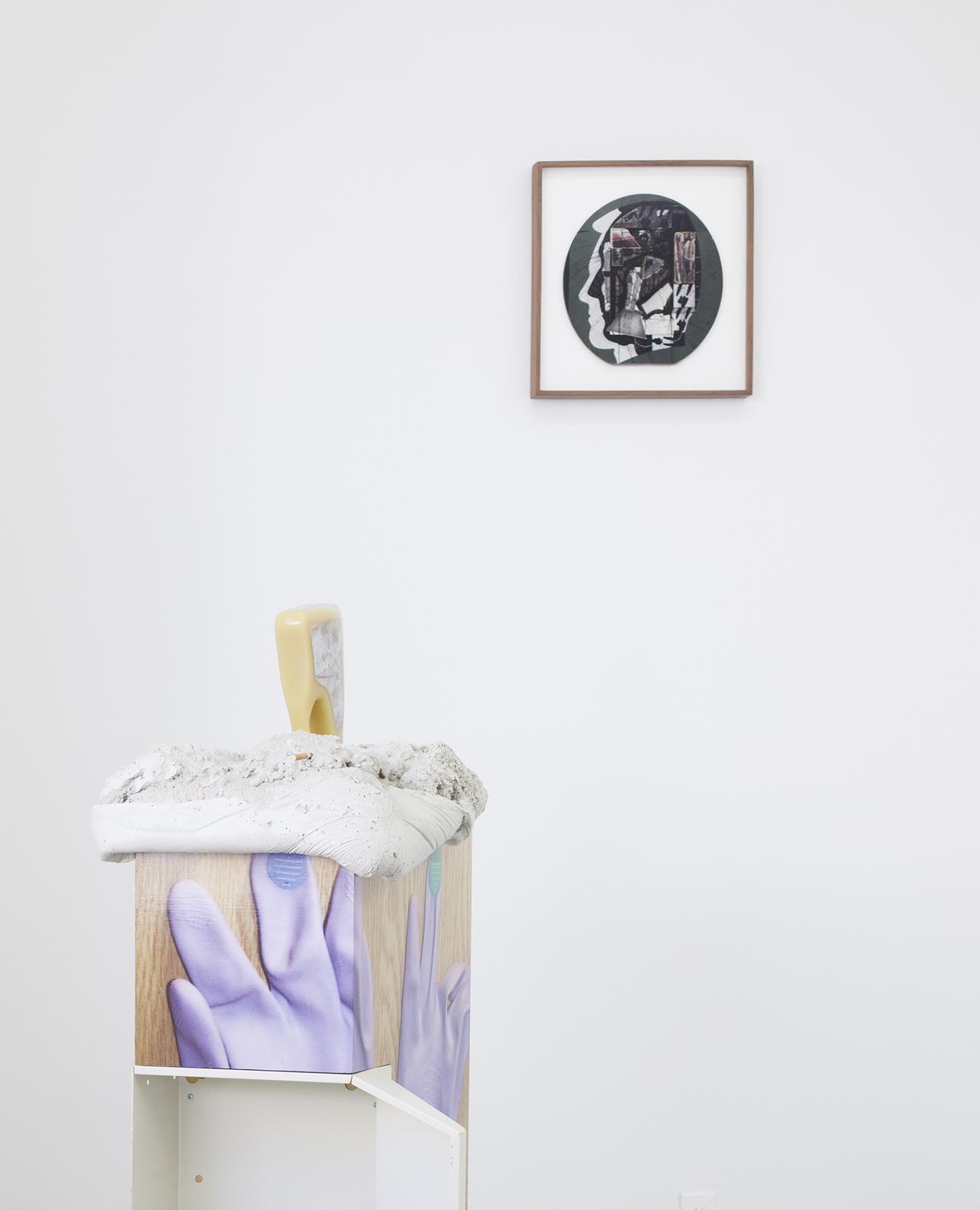 "Installation view of 'Umpawaug's Bloom' at Kimberly-Klark with Ray Johnson, ""Untitled (Tab Hunter William Burroughs)"" (1976–81) (© Ray Johnson Estate, Courtesy Richard L. Feigen & Co.)"