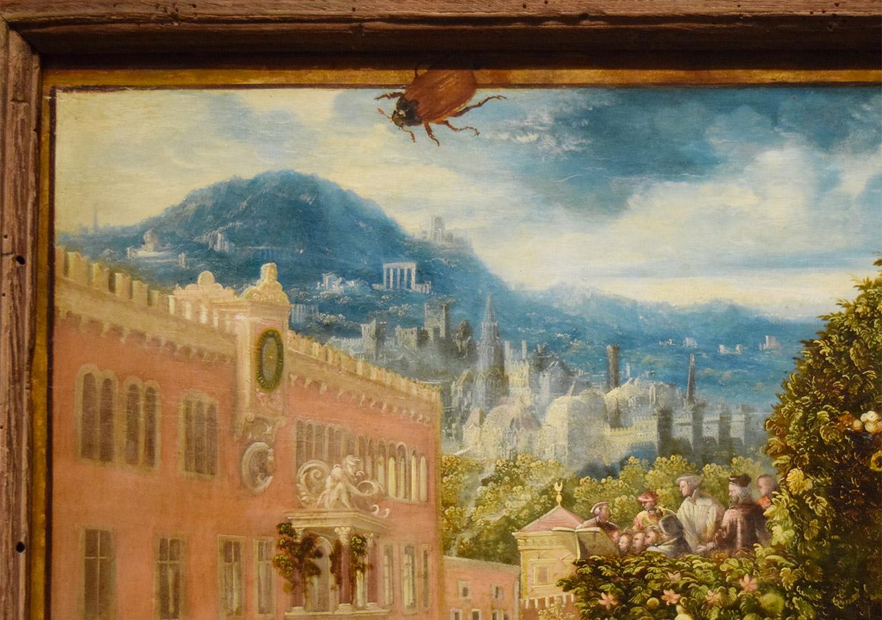 "Trompe l'oeil detail of Hans Mielich's ""Outdoor Banquet"" (1548)"