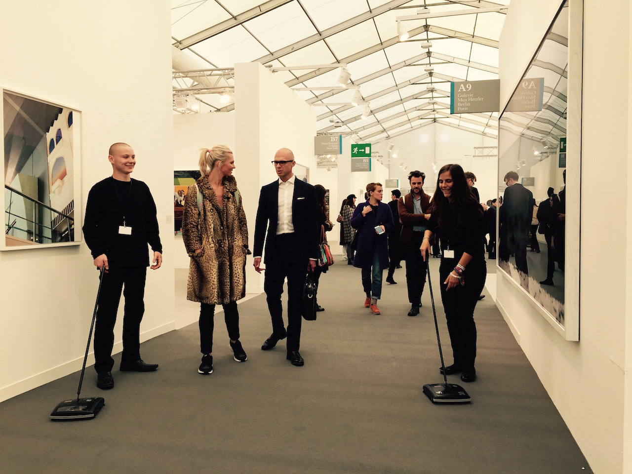 Carpet sweepers at Frieze London 2015 (all photos by the author for Hyperallergic)