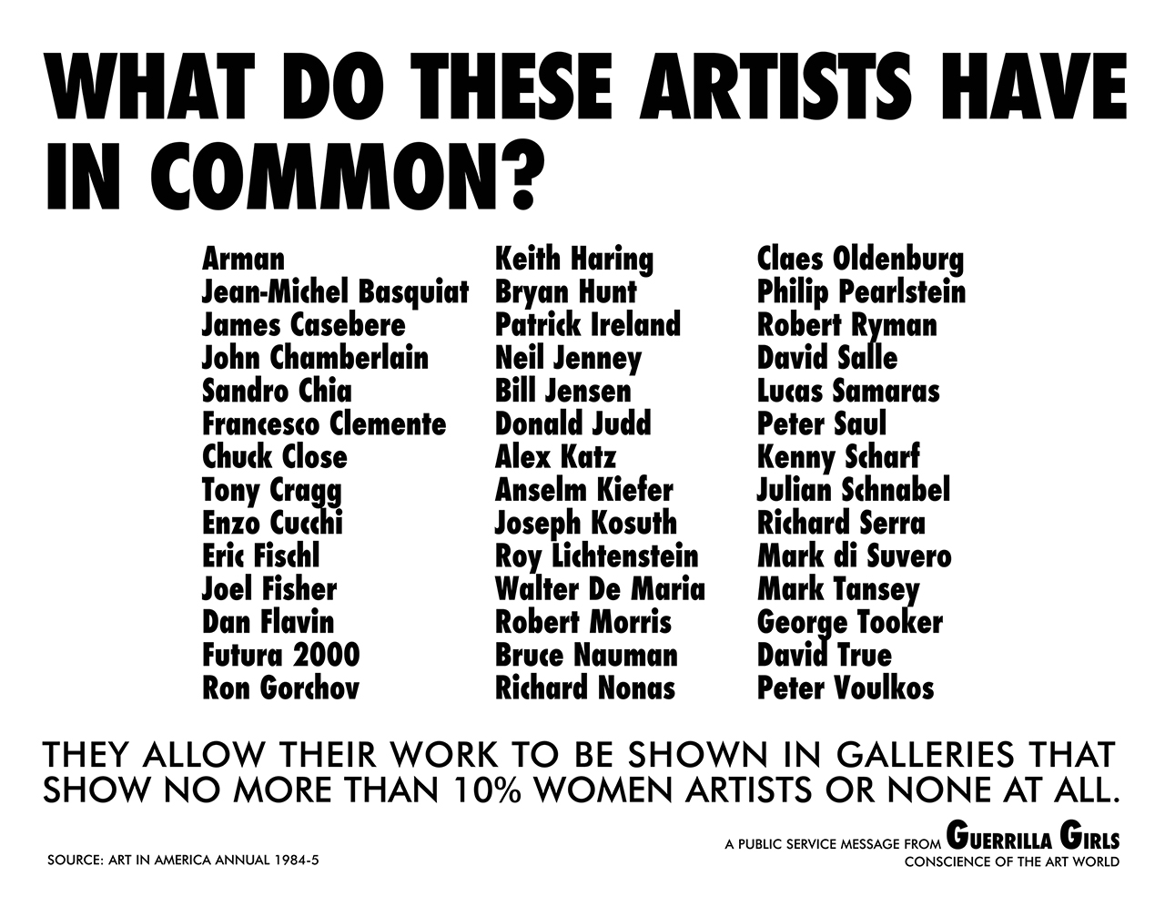 """Guerrilla Girls, """"What Do These Artists Have In Common?"""" (1985)"""