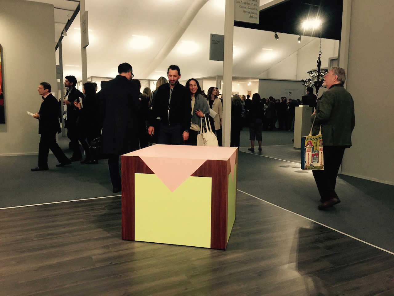 An Artschwager table coolly confronts its public from Gagosian's booth at Frieze Masters.