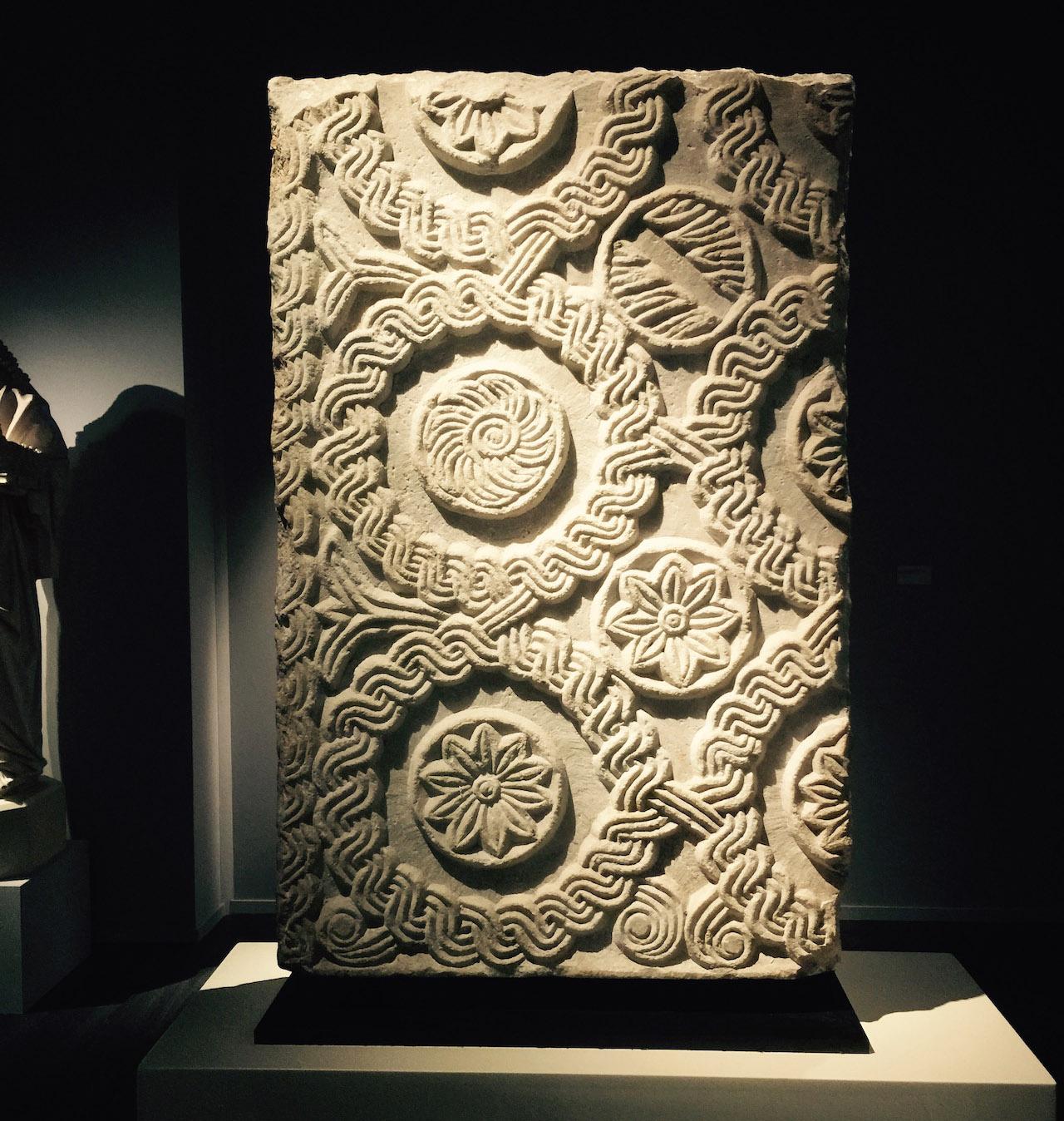 A Langobardic stele with a Renaissance-era inscription on its back, at Frieze Masters