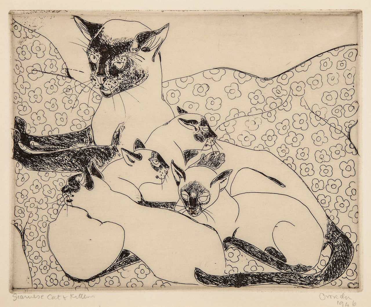 "Camille Pissarro, ""Siamese Cat and Kittens"" (1946)"