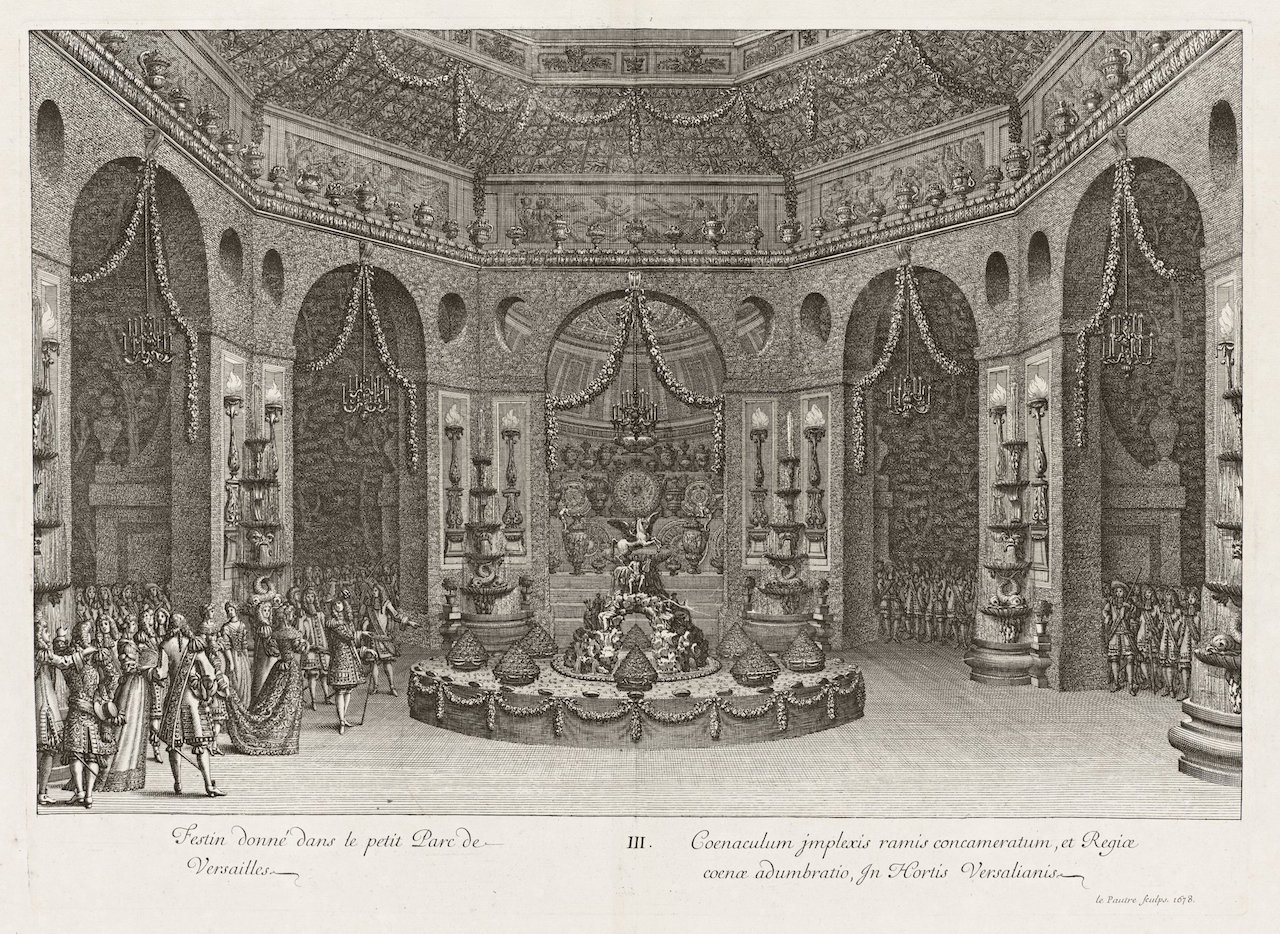 Banquet Held in the Petit Parc at Versailles; André Félibien, French, 1619 - 1695, Jean Lepautre, French, 1618 - 1682, Various makers, Jean Lepautre (plate 3), Jean Lepautre (after pg. 18), after Jean Bérain, French, 1640 - 1711; 1674-1679; etchings and engravings; Open (84-B21388 c.1, pl.3 (between pg.32-33)): 42.9 x 55 cm (16 7/8 x 21 5/8 in.), Open (84-B21393 c.1, [pl.4] (between pg.18-19)): 42.9 × 59.1 cm (16 7/8 × 23 1/4 in.), Closed: 42.8 x 28.5 x 3.5 cm (16 7/8 x 11 1/4 x 1 3/8 in.); 84-B21384.c1.bw; Not Researched