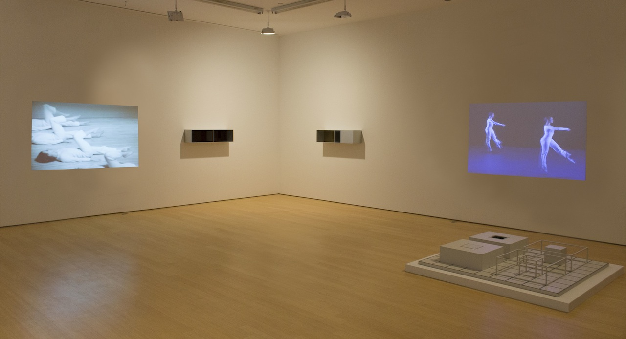 "From left to right: Trisha Brown, 'Group Primary Accumulation' (1973); Donald Judd, Menziken boxes ""Untitled"" (1988) and ""Untitled"" (1991); Lucinda Childs, 'Dance' (1979); Sol LeWitt, ""Serial Project ABCD 5"" (image courtesy Loretta Howard Gallery)"