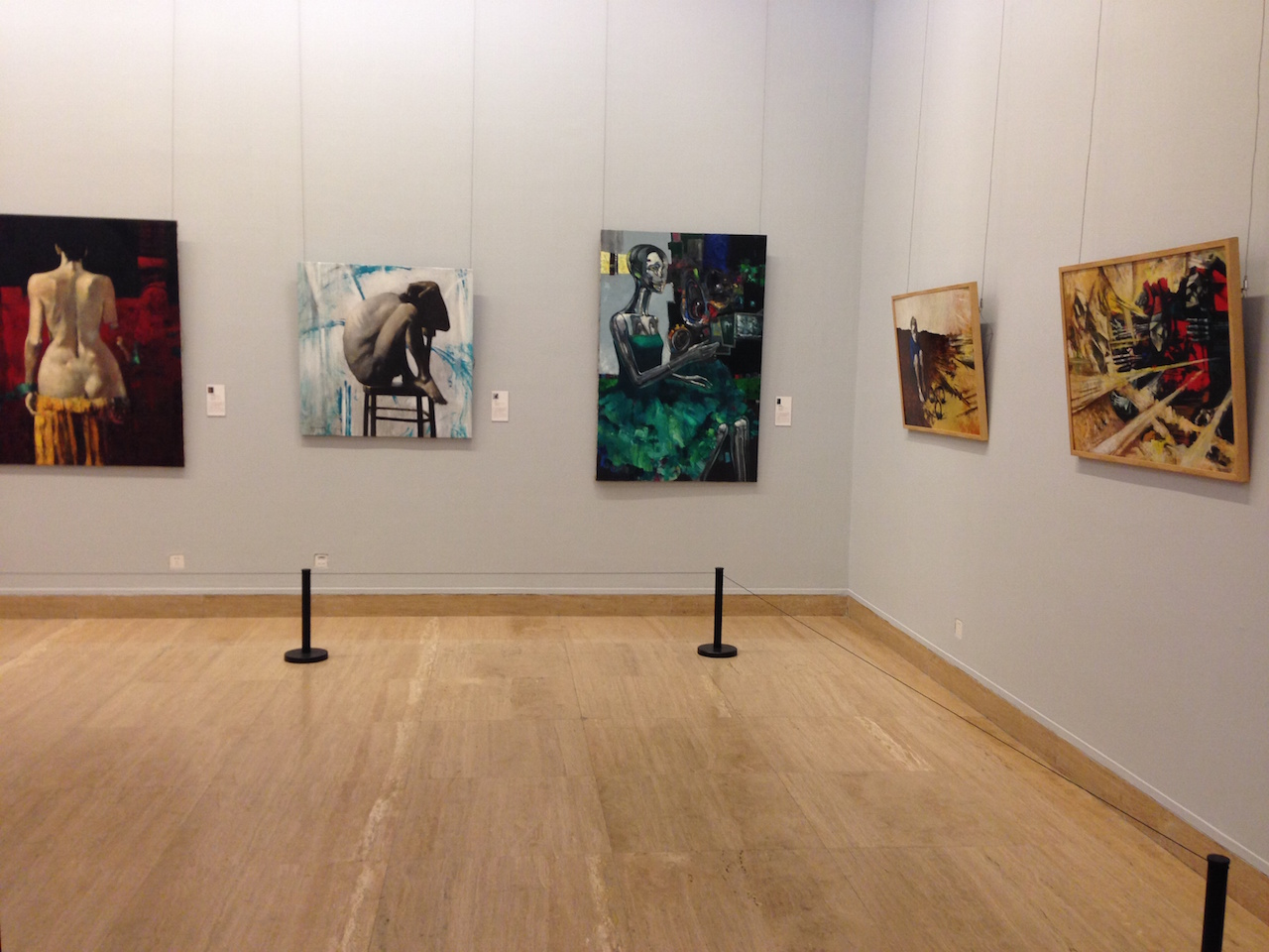 """Installation view of """"Dreamscapes"""" showing paintings by Ararat Minasyan (photo by Anna Gargarian)"""