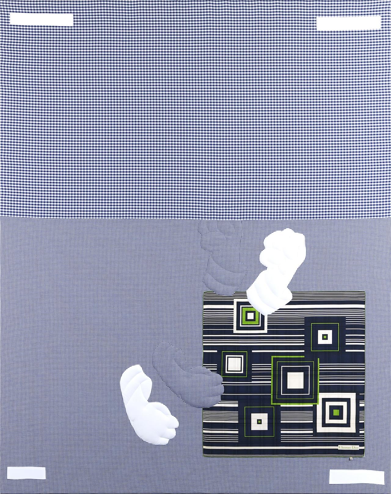 "Cosmia von Bonin, ""NON-ZERO ENTHUSIASM"" (2009), cotton, silk, fleece, 90.55 x 79.92 inches"