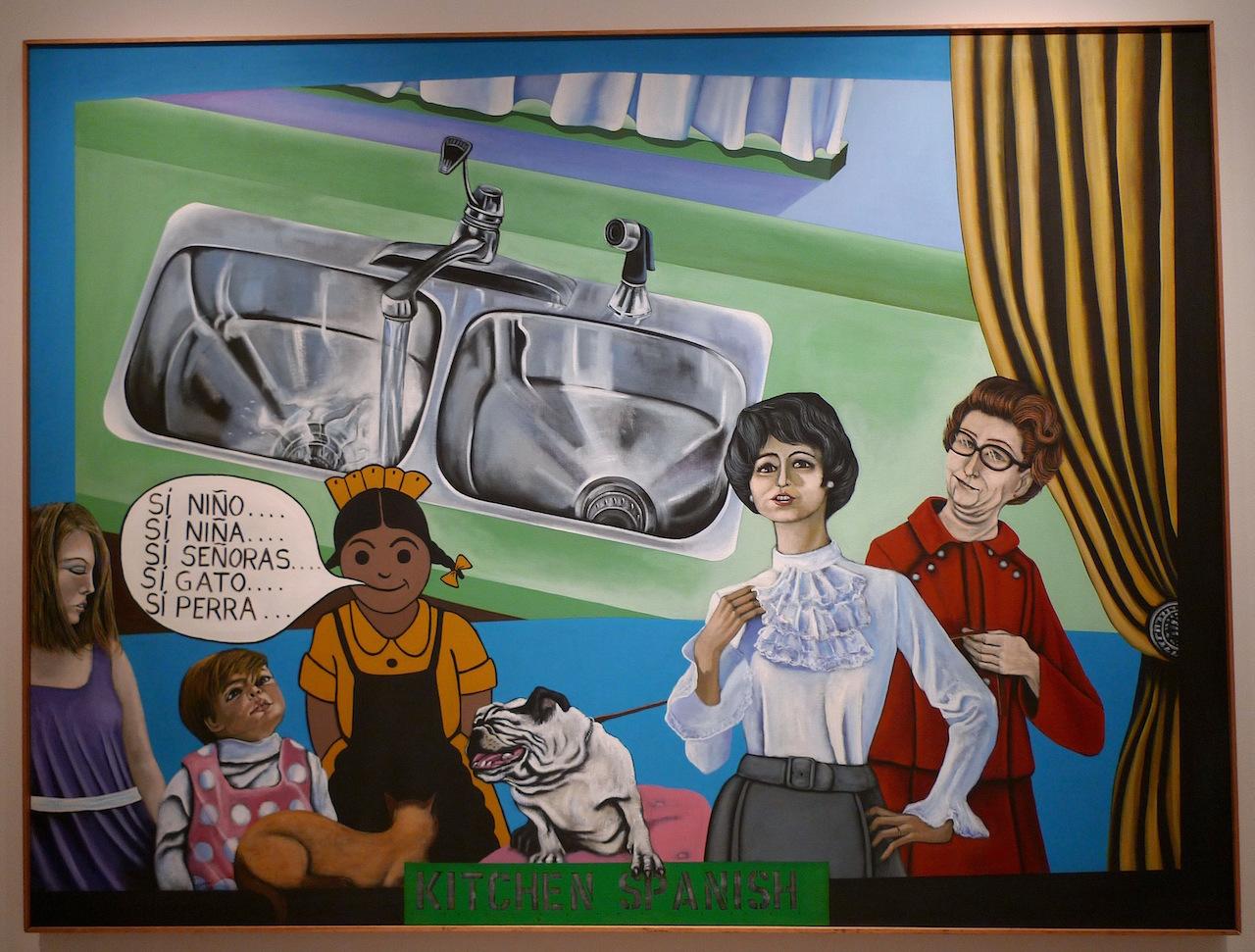 "Mel Casas, ""Humanscape 68 (Kitchen Spanish)"" (1973), 72"" x 96"", acrylic/canvas"