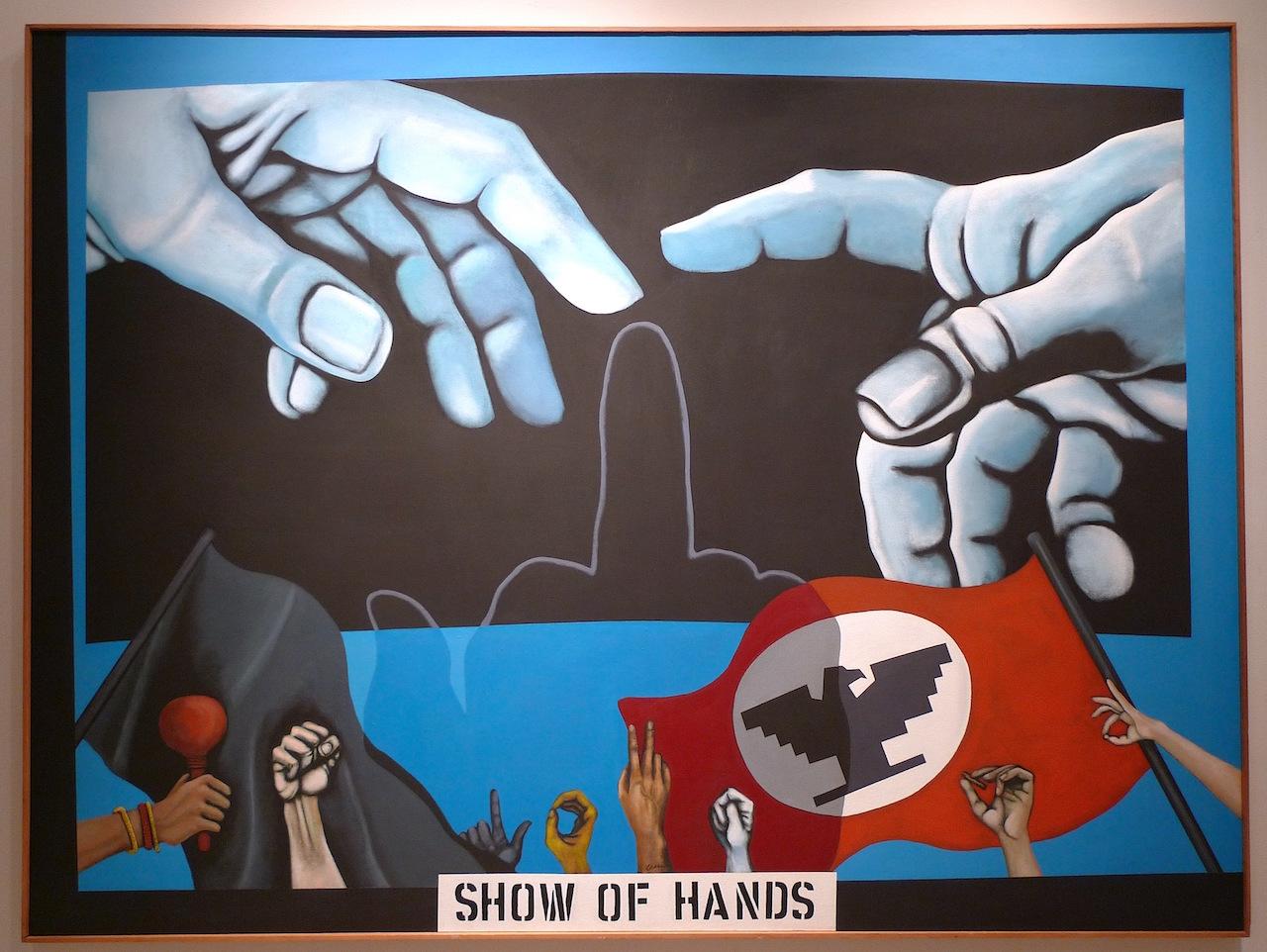 "Mel Casas, ""Humanscape 63 (Show of Hands)"" (1970), 72"" x 96,"" acrylic/canvas"