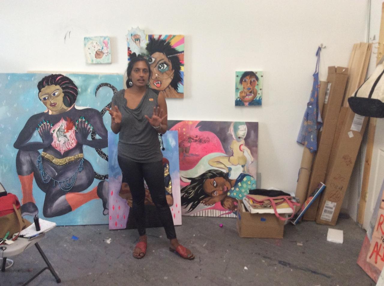 Artist Chitra Ganesh in her studio
