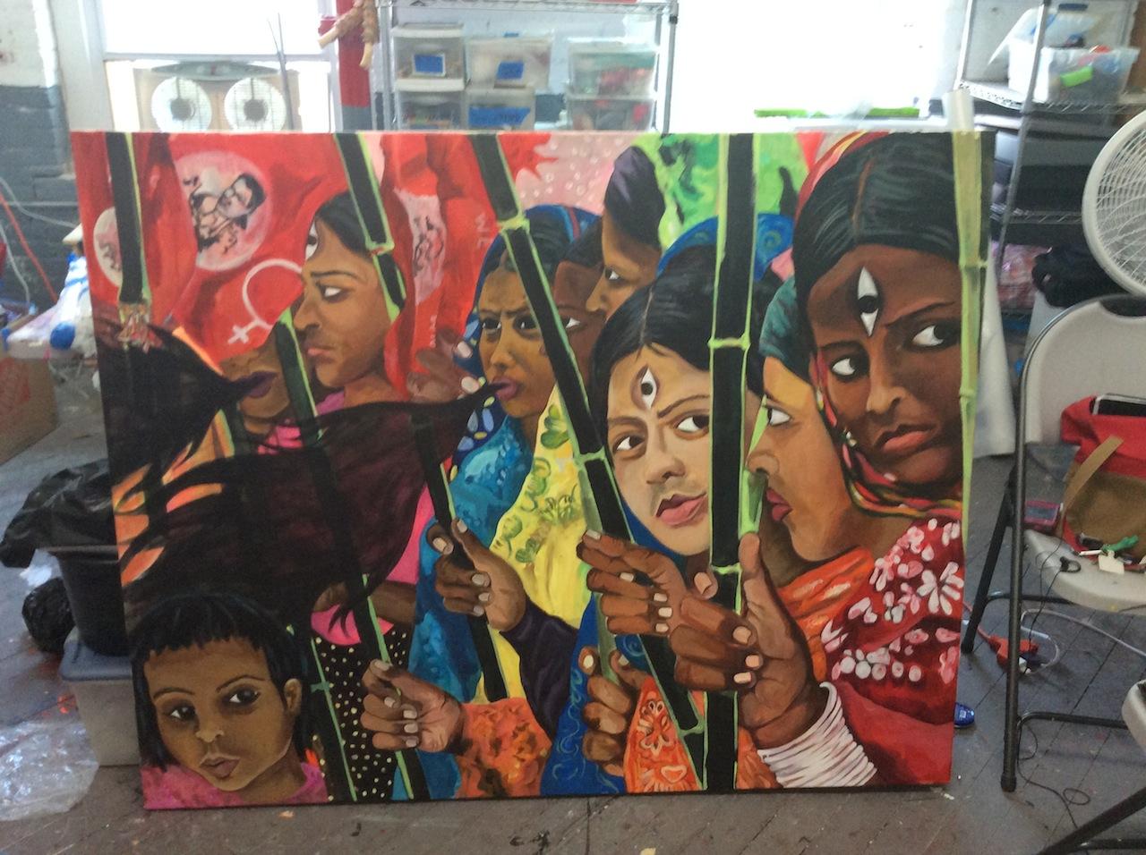 """Chitra Ganesh, """"Rana Plaza"""" (2015), acrylic on canvas, 48 x 60 inches"""
