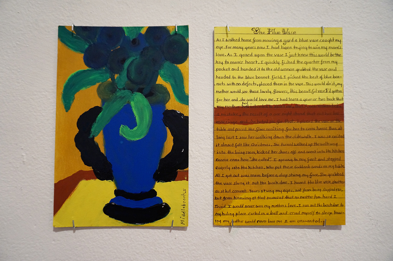 """Donald Middlebrooks, """"The Blue Vase"""" (2015), tempera on matboard, each panel 6x9 in"""