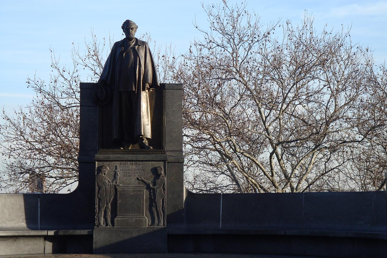 One of the few public art works in Morningside Park: the Carl Schurz memorial. Photo by Dave Pelland via Flickr.