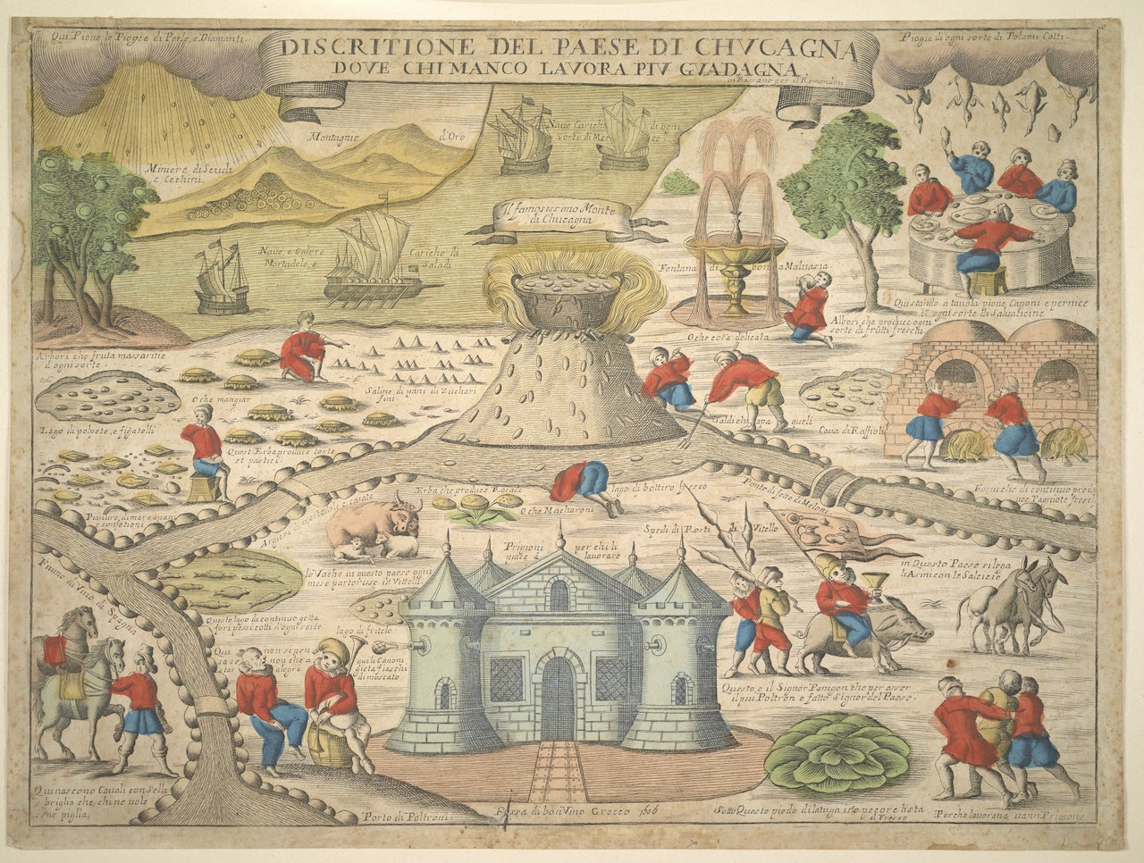 Description of the Land of Cockaigne, where he who works the least earns the most; Remondini family (Bassano); 1606; engraving; Sheet: 41.5 x 55.5 cm (16 5/16 x 21 7/8 in.); 2014.PR.72; Not Researched
