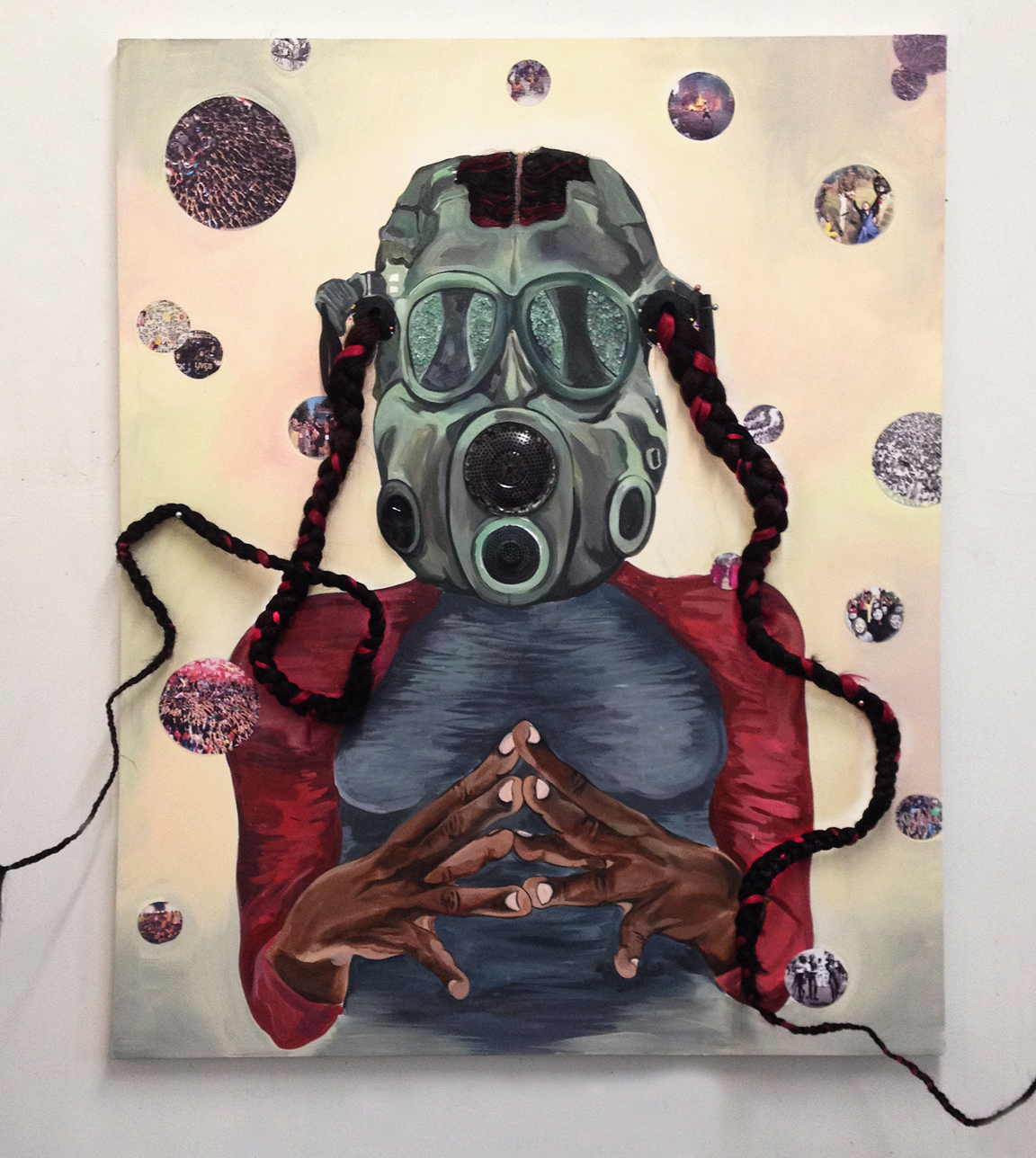"""Chitra Ganesh, """"Action Plan"""" (2015), acrylic, hair, rubber, metal (drain), digital print on canvas, 60 x 48 in (image courtesy the artist and Gallery Wendi Norris, San Francisco)"""