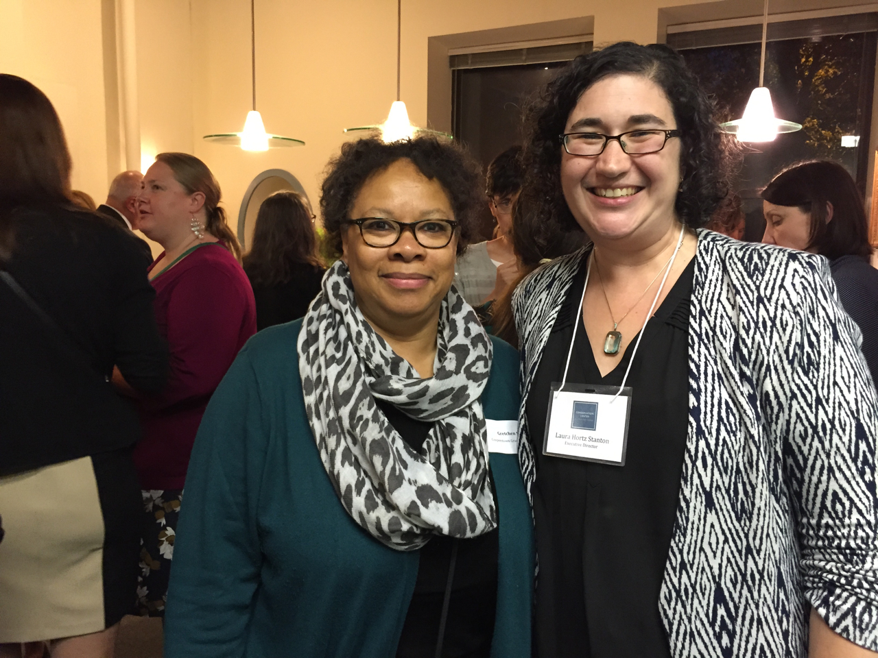 On left, Gretchen Sorin, President of MAAM; on the right, Laura Hortz Stanton, Executive Director of the Conservation Center. Photo by Gretchen Sorin.