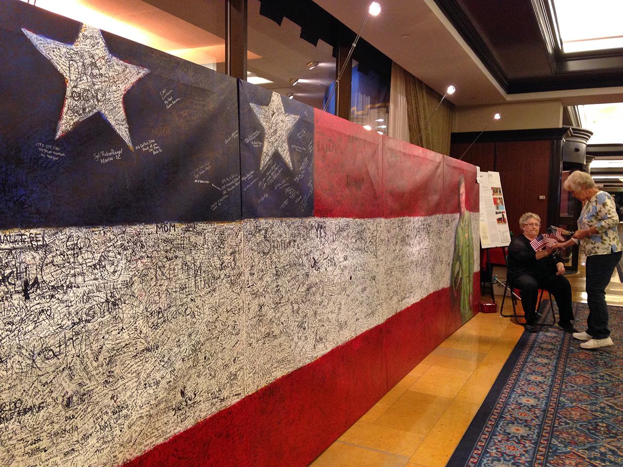 "Pamela Alderman's ""Hometown Hero"" in the lobby of the Amway Grand Plaza Hotel"