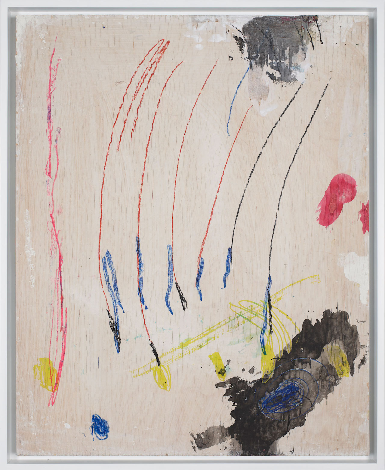 """Josh Smith, """"Untitled"""" (2015), rabbit skin glue, calcium carbonate, white pigment, ink, watercolor, graphite, grease pencil, paint pen, and transfer drawing on panel"""