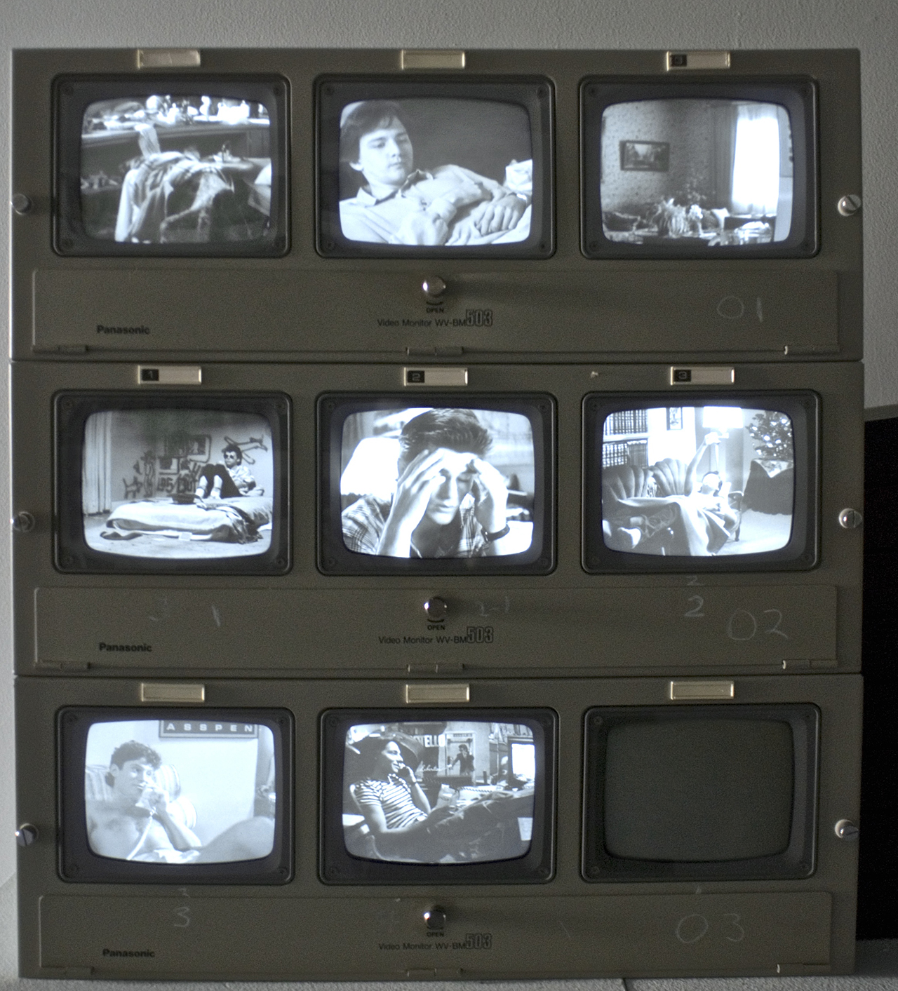 """Scott Northrup, """"Where the Boys Are"""" (2015), eight-channel video installation (photo by Miranda Clark) (click to enlarge)"""