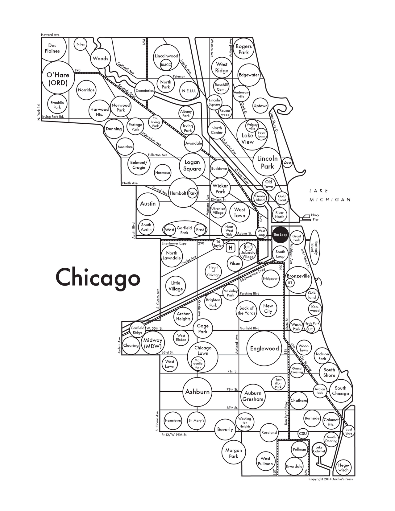 """Archie's Press, """"Map of Chicago"""" (2014) (click to enlarge)"""