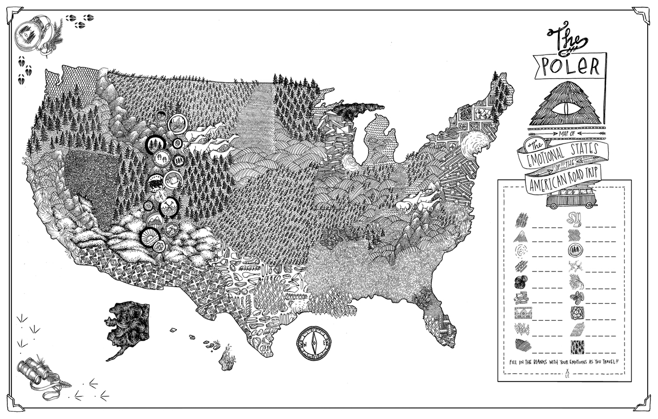 """Lucy Engelman, """"The Emotional States of the American Roadtrip"""" (2012) (By Lucy Engelman from 'Mind the Map,' © Gestalten 2015)"""