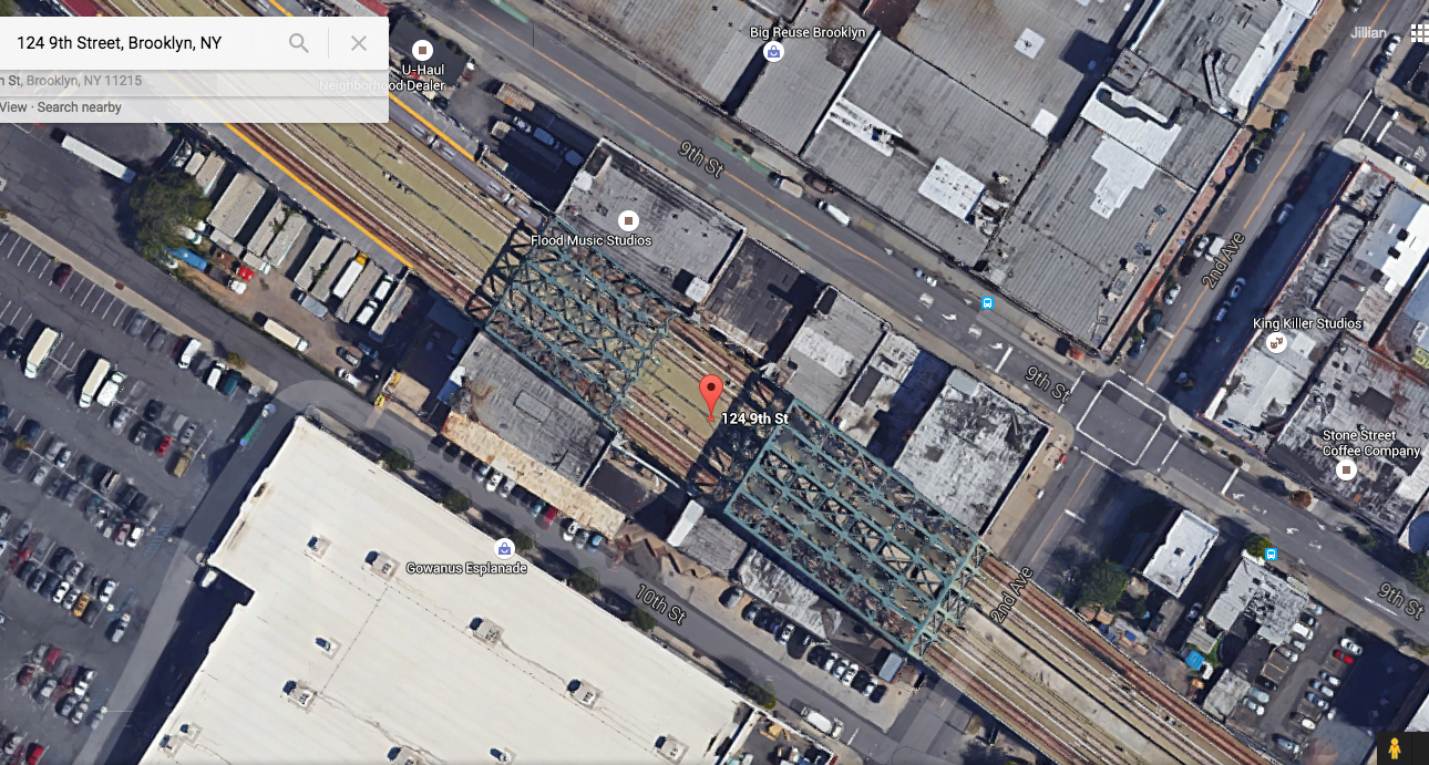 Google Satellite view shows 124 9th Street and the surrounding buildings